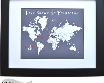 Custom long distance relationship gift, valentines day gift idea, world map print, gift for girlfriend, gift for boyfriend, military family