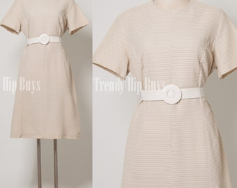 Vintage 60s dress Mad men dress Ivory Dress shift dress - L/XL