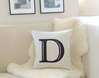 Initial Pillow Cover - Rustic Modern
