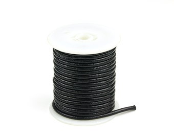 20% OFF 3mm Leather Cord, Black Genuine Leather Cord, Round Leather Cord, Pkg of 30 ft., D0F7.BK59.L30F