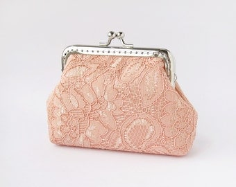 Lace wedding clutch, wedding coral purse, bridal clutch with kisslock
