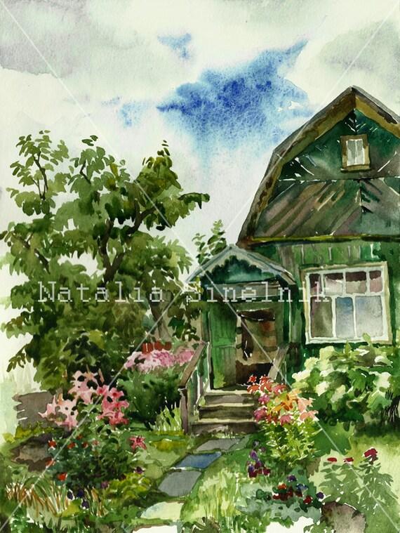 Walkroad in a village summerhouse digital download from original watercolor summer landscape