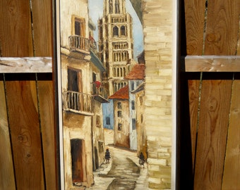 Original Oil Painting, Cityscape.  European Street  & Cathedral. Earthy Contemporary. VTG