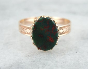 Antique Rose Gold and Bloodstone Ladies Ring 8WCC8X-N
