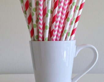 Pink, Red, and Green Paper Straws Strawberry Shortcake Party Supplies Party Decor Bar Cart Cake Pop Sticks  Party Graduation