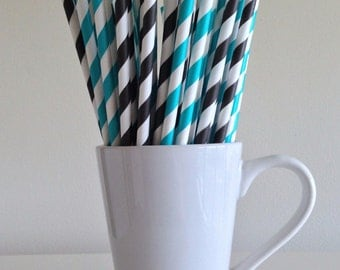Teal and Black Striped Paper Straws Black and Teal Party Supplies Aqua and Black Party Decor Bar Cart Cake Pop Sticks Panthers Graduation