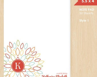 Personalized Note Pad // Colorful Blooming Blossom with Monogram Initial and Name // S100-5