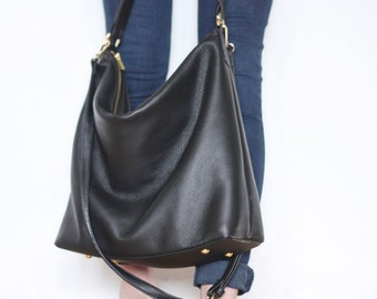 NELA - Leather Hobo Bag (MEDIUM) - BLACK