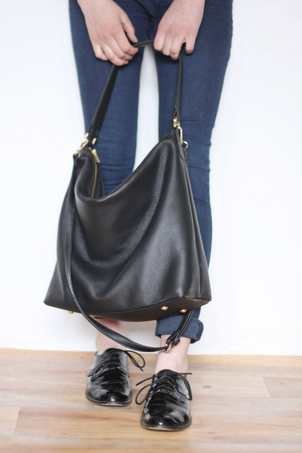 NELA Leather Hobo Bag MEDIUM BLACK