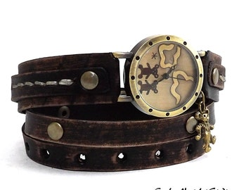 Leather Wrap Watch, Vintage looking wrist watch, Womens leather watch, Bracelet Watch, Antique Black Wrist Watch