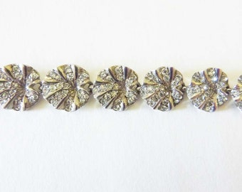 Circa 1930s sterling disc and crystal stone sectional bracelet
