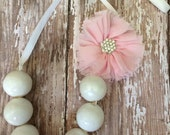Real Gum Ball Bubble Gum White Shimmer Light Pink Ballerina Flower Hairpiece Necklace Princess Birthday Party Favors Sweets Table