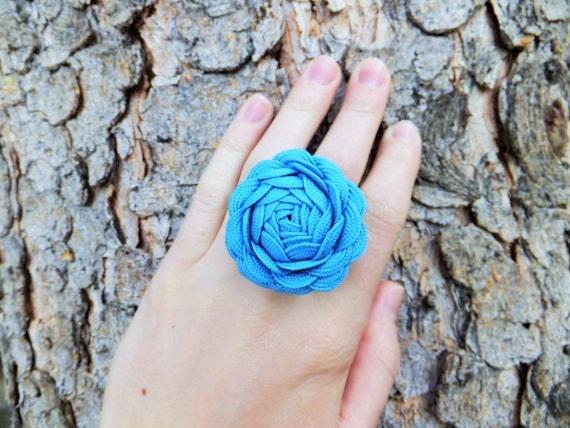 Blue Ric Rac Rose Ring