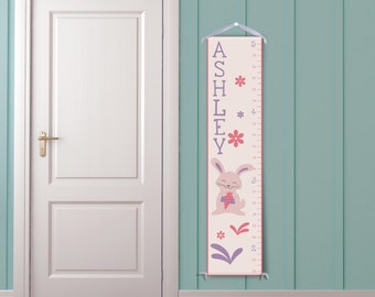 Happy Bunny in Peach - Personalized Children's Growth Chart