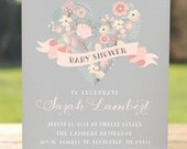 Girl baby shower invitations, rustic baby shower invitation, printable baby shower invitation,unique baby girl shower,floral shower invite