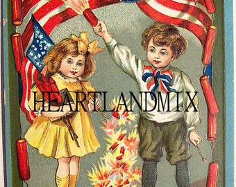 4th of July Flag and Fireworks Vintage Image July 4th Download Printable Card