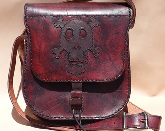 Hand Crafted, Processed, Dyed & Stiched Leather Purse with Skull and Crossbones Applique
