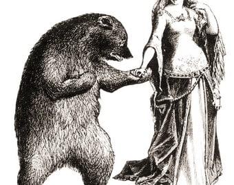 "Vintage Maiden Dancing with Bear Temporary Tattoo - ""Maiden & Bear Love Affair"""