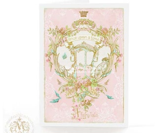 Once upon a time, card, fairy tale, carriage, pink, birthday card, wedding, baby girl, engagement, princess