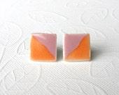 SALE! Medium Small Porcelain Earrings. Square. Pink & Orange. Studs. Tangerine. Coral. Rose. Post Earrings. Surgical Steel. Simple. Comfy