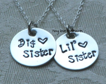 Sisterly Love - Big Sister and Little Sister set of 2 hand stamped sterling silver necklaces