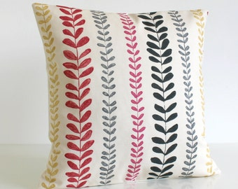 Decorative Pillow Cover, 16 Inch, 16x16, 100% cotton - Beanstalk Red