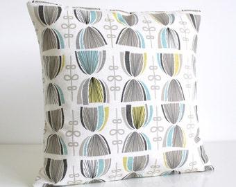Cotton Pillow Cover, Decorative Pillow Cover, 18x18 Cushion Cover, Pillowcase, Throw Pillow Cover, Accent Pillow Cover - Hourglass Aqua