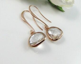 Crystal Earrings, Rose Gold Earrings, Drop Earrings,Minimalist Earrings,Minimal Earrings,bridesmaid Earrings,Bridal Jewelry,Wedding earrings