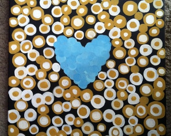 Let Your Heart Glow // Painting, Blue Heart, Gold, Mustard, Circles, Glowing