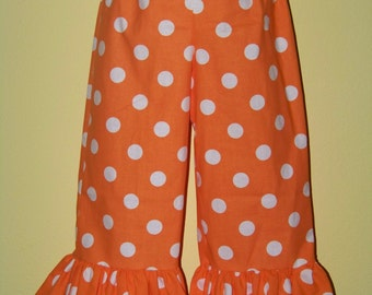 Boutique Ruffle Pants or Shorts / Orange Polka Dot / Tennessee Vols / Birthday / Newborn / Infant / Baby / Girl / Toddler/ Boutique Clothing