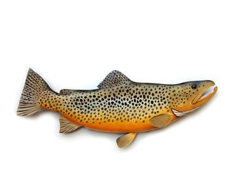 Mens fishing gift, BROWN TROUT 28'' Outdoorsmens gift, fisherman's gift, fishing decor, fish wood carving, fly fishing gift, fish art,