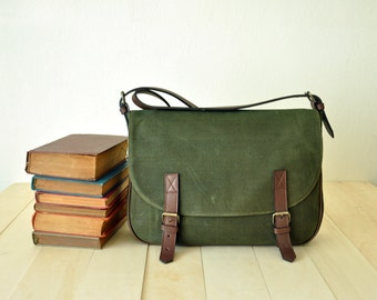 "Waxed Canvas Messenger Bag in Olive Green - Leather Strap - 13"" Laptop - Waterproof Bag - Shoulder Bag - Back to School - READY TO SHIP"