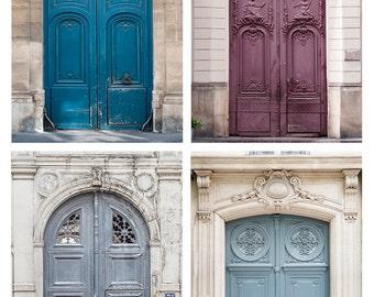 Paris Photography Set - Paris Doors Collection, Urban Wall Decor, French Fine Art Photographs, Large Wall Art