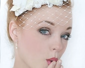 My Pretty Ingrid bridal hat - Exclusive birdcage  fascinator with flowers, velvet leaves, pearls and veil