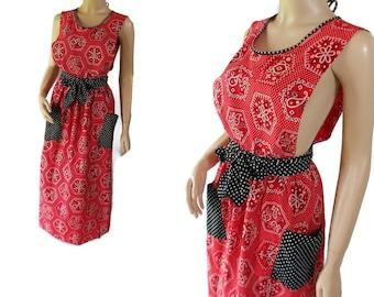 70s Maxi Dress, Hippie Chic, Sundress, Pinafore, Design House Japan