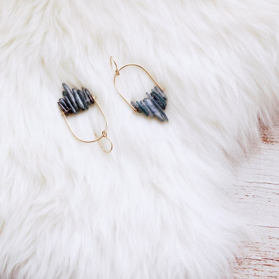 NEW Blue Kyanite Arch Hoops / 14k gold fill or sterling silver trapeze earrings / gemstone fringe / modern handmade jewelry