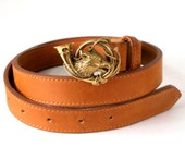 1989  POLO Ralph Lauren Fox & Horn BUCKLE Solid Brass 32in BELT Light Saddle Brown Leather M or W Gorgeous Ex Condition