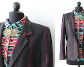 Vintage Blazer / Sports Jacket / Charcoal Gray / Womens Clothing / 1970s 80s / Medium / Work Appropriate / Hipster Jacket