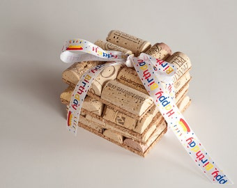 Happy Birthday Wine Cork Coasters Set of 4 Wine Cork Crafts, Birthday Gift, Happy Birthday
