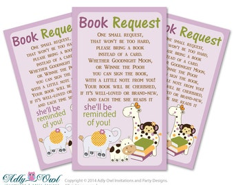 Girl Cocalo Jacana Book Request Baby Shower Printable DIY Tickets, Book instead of card, It's a Girl, Jungle - ONLY digital file - ao22bs0