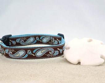 "Blue Paisley on Brown Spring Summer Dog Collar, 1"" Wide"