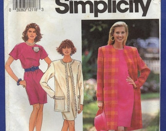 1991 Misses' Dress and Unlined Coat in Two Lengths - Vintage Simplicity Sewing Pattern 7664