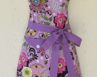 Purple Floral Apron, Retro Style Apron, Full Apron, Orchid Apron, Women's Apron, Flowers, KitschNStyle