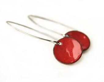 Enamel Jewelry Gift - Red Enamel Earrings - Long Drop Earrings - Sterling Silver Drop Earrings - Minimal Jewelry - Red Dangle Earrings