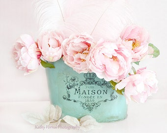 Paris Peonies Flower Photography, Dreamy Shabby Chic Decor, Pink Peony Prints, Pink Aqua Teal Peonies Floral Decor, Baby Girl Nursery Decor
