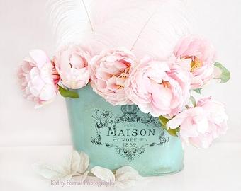 Paris Peonies Flower Photography, Dreamy Shabby Chic Decor, Pink Peony Photos, Pink Aqua Teal Peonies Floral Decor, Baby Girl Nursery Decor