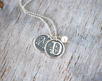 Two Personalized Wax Seal Initial Necklace with Pearl - Sterling Silver Initial Necklace - Customized Initials Wax Seal Necklace