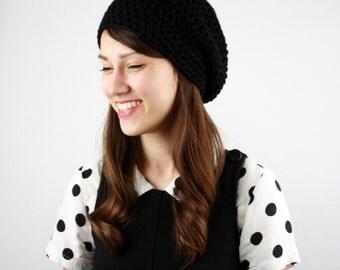 Womens Slouchy Hat, Crochet Slouchy Hat, Women's Hat, Crochet Hat, Womens Accessories, Spring Fashion, Slouchy Beanie Hat, Black