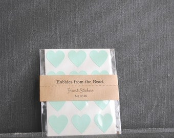 36 Pastel Green Mini Heart Stickers / Seals / Labels