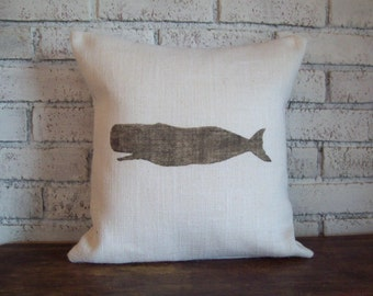Nautical Whale Pillow Cover - Burlap Pillow - Rustic Beach Cottage Home Decor - Choice of Size and Colors - Nautical Pillow - Coastal Pillow